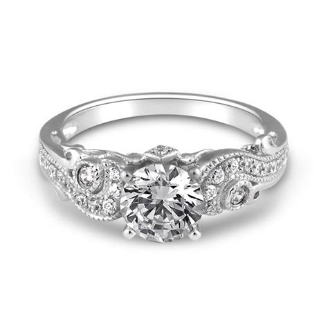 white gold paisley fancy solitaire engagement ring