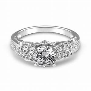 14 white gold paisley fancy solitaire engagement ring With fancy wedding ring