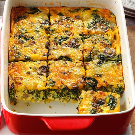 egg casserole recipes eggs florentine casserole recipe taste of home