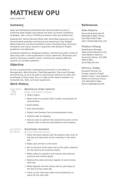 Order Processing Resume by Warehouse Order Selector Resume Exle Resume Wizards