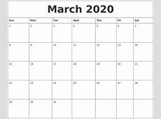March 2020 Create Calendar