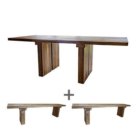 'sunut' Reclaimed Wood Dining Table And Bench Set Stunning