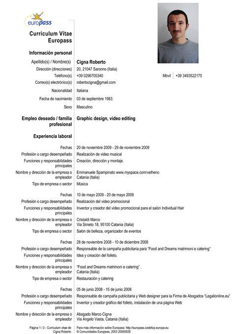 Templates De Resume En Espanol by Modelos Curriculum Vitae Espanol Gratis Curriculum Vitae