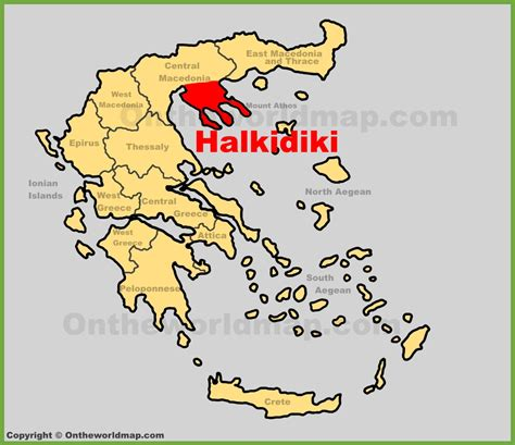 halkidiki location   greece map