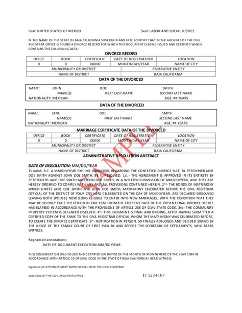 separation decree form divorce decree translation pdf