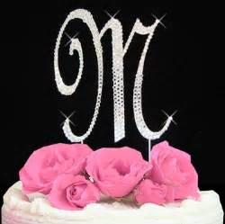 rhinestone monogram cake topper initial m cake topper letter m fully covered in