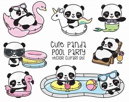 Clipart Panda Kawaii Premium Pandas Pool Clip