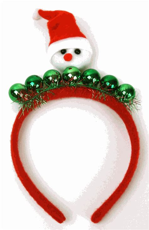 christmas hair band with snowman and green beads