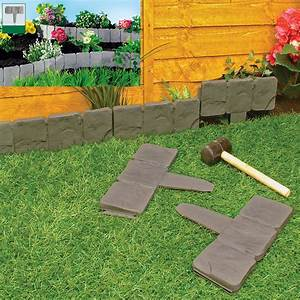 Garden, Lawn, Edging, Cobble, Stone, Plastic, Plant, Border, 8ft, 2, 4m, Fencing, Hammer, In