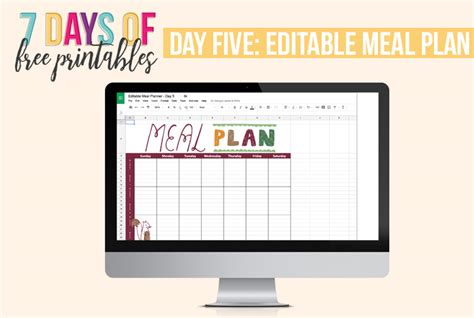 editable weekly meal planner free printables for planning and home management binders