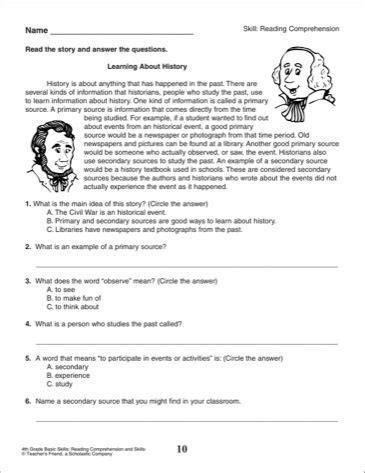 reading comprehension tests 4th grade scalien google