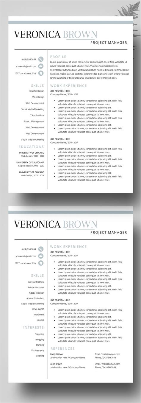 professional resume template ideas  pinterest