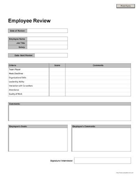 printable employee review form business forms