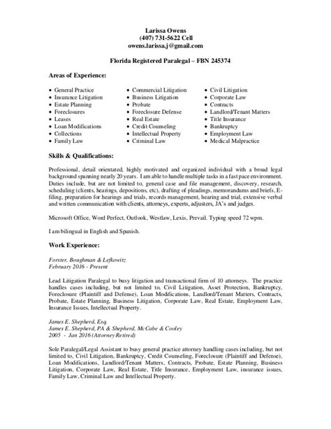 litigation paralegal resume