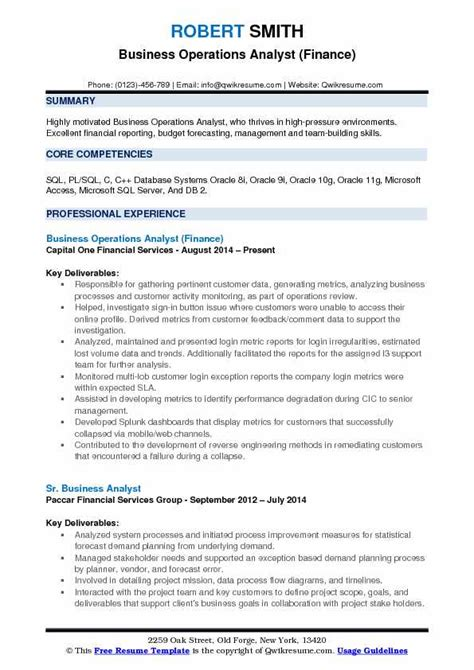 Business Operations Performance Analyst In Denver Co Resume by Business Operations Analyst Resume Sles Qwikresume