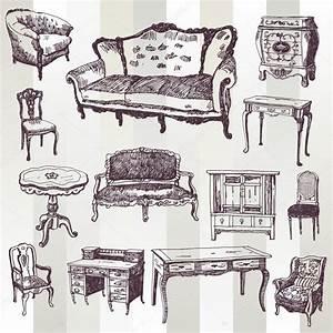 Antique Furniture — Stock Vector © tsaplia #30844409