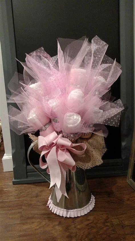 pink  grey diaper bouquet  adapperdachshund  etsy baby shower diaper bouquet baby