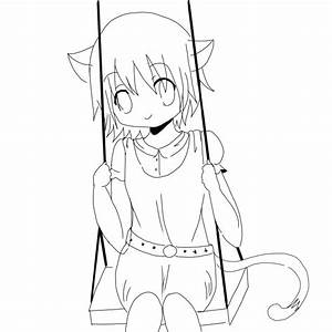 Cute Anime Cat Coloring Pages. Neko Girl Lineart By ...