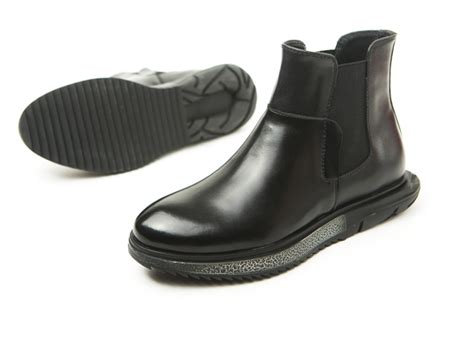 Crackle Sole Mens Black Chelsea Boots
