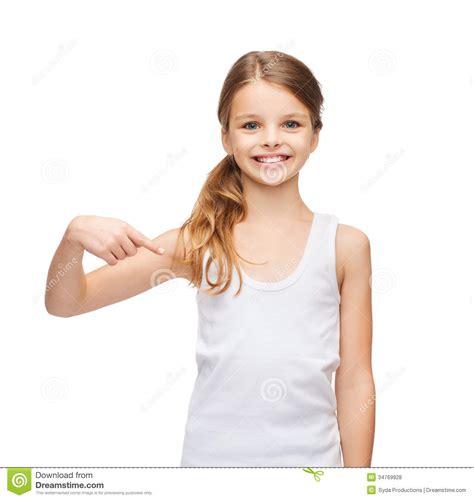 smiling teenage girl  blank white shirt royalty