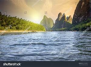 China Guilin Lijiang River Rafting Beautiful Stock Photo ...