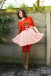 Light Pink Dresses Tawny Sweaters Ruby Red Tights Light Brown Boots   u0026quot;1 dress 4 waysu0026quot; by ...