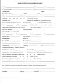 Home Insurance Quote Sheet Template