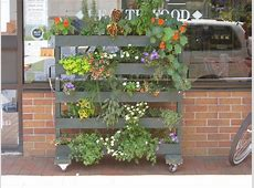 Rolling pallet stand to hold plants outside a store in