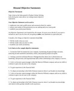 Objective Resume Statement by General Resume Objective Sle 9 Exles In Pdf