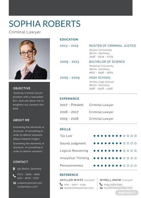 criminal lawyer resume template  adobe photoshop