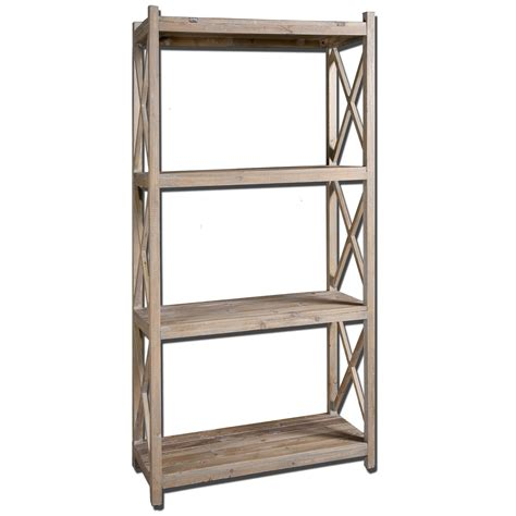 free standing cabinet shelves stratford fir wood etagere book shelf uttermost free