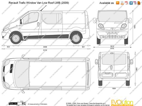 renault trafic window low roof lwb vector drawing