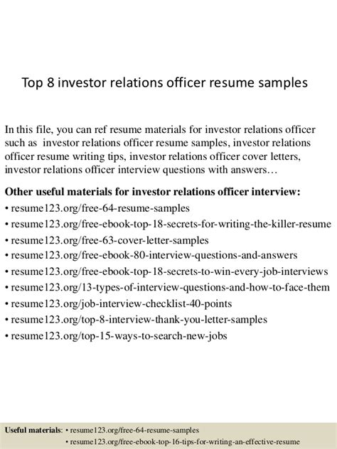 Investor Relations Resume Sles by Top 8 Investor Relations Officer Resume Sles