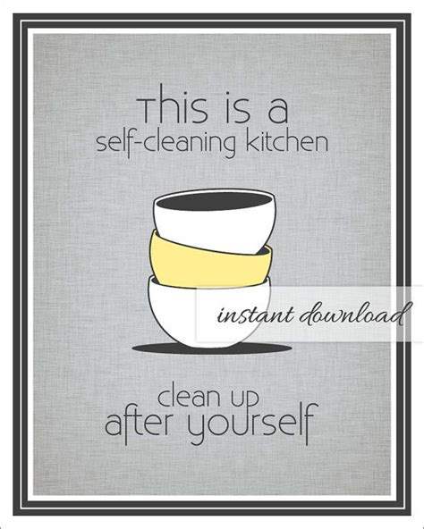 Office Kitchen Clean Up Signs by Self Cleaning Kitchen Sign Stacked Bowls Gray And