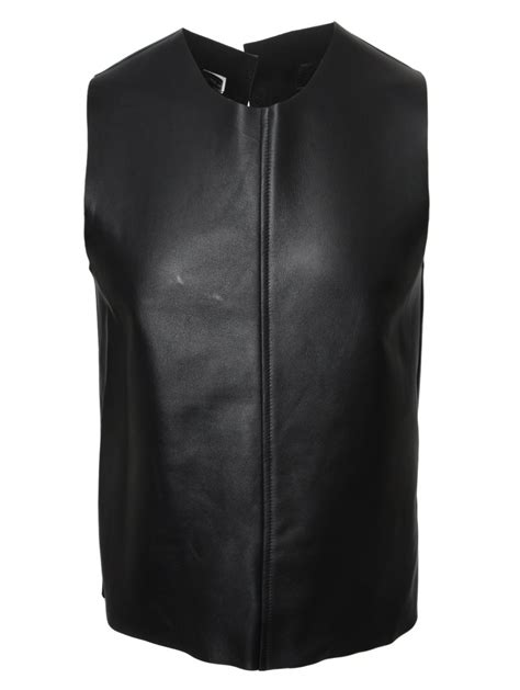 buckle vest comme des garçons leather back buckle vest black in black