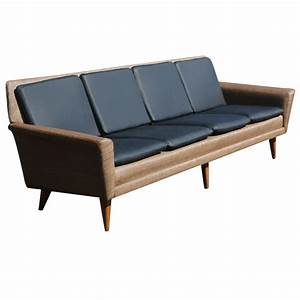 8ft restored danish modern dux leather sofa couch on sale With danish modern sofa bed
