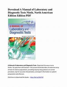 A Manual Of Laboratory And Diagnostic Tests Ninth  North