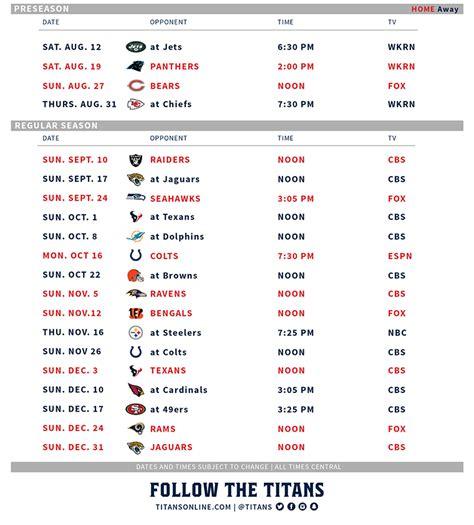tennessee titans season schedule
