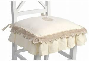 Galette De Chaise : galette de chaise volant shabby chic broderie monogramme ~ Melissatoandfro.com Idées de Décoration