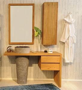 Bad Set Holz : sam badm bel set 3tlg waschtisch holz natursteinbecken kubu bangli ~ Markanthonyermac.com Haus und Dekorationen