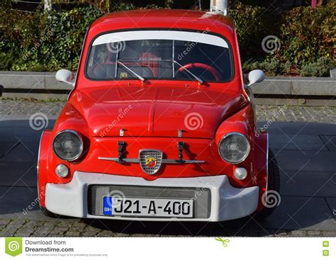 fiat  abarth oldtimer model beautifull red  white
