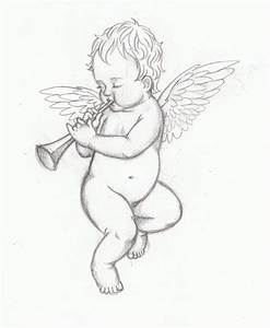 Flying Baby Angel Drawing - ClipartXtras