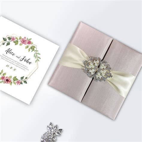 Blush Pink Silk Folio For Wedding Cards Featuring Pearl