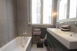 Deco Salle De Bain Gris : d co salle de bain en gris et blanc exemples d 39 am nagements ~ Farleysfitness.com Idées de Décoration
