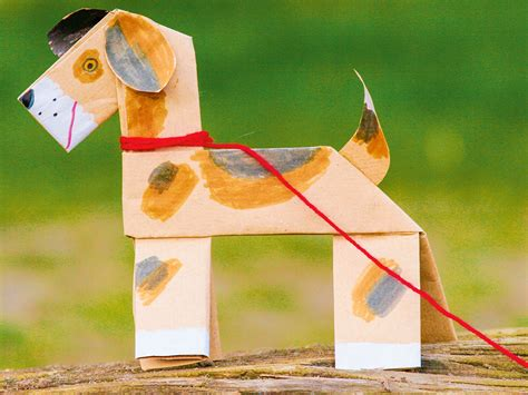 tiere aus papier falten basteln mit kindern kostenlose bastelvorlage tiere hund aus papier