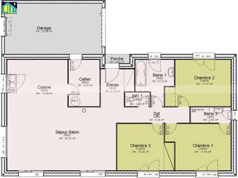 plans de maison plain pied 3 chambres ordinaire plan maison etage 4 chambres gratuit 13