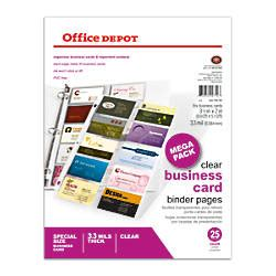 office depot business card office depot brand business card binder pages 8 12 x 11 clear pack of 25 by office depot officemax