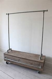 pia clothes rail with reclaimed scaffold wood drawer by