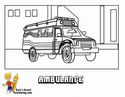 Ambulance Coloring Transportation Pages Service Colouring Police