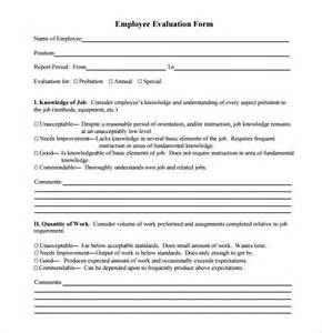 Manager Employee Evaluation Form